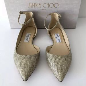 d15875db53b4 Jimmy Choo Shoes - JIMMY CHOO LUCY LAME GLITTER ANKLE STRAP FLATS 38